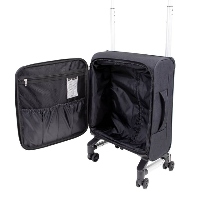 skyrider carry on luggage shown with the bag opened to highlight the large volume and convenient storage pockets