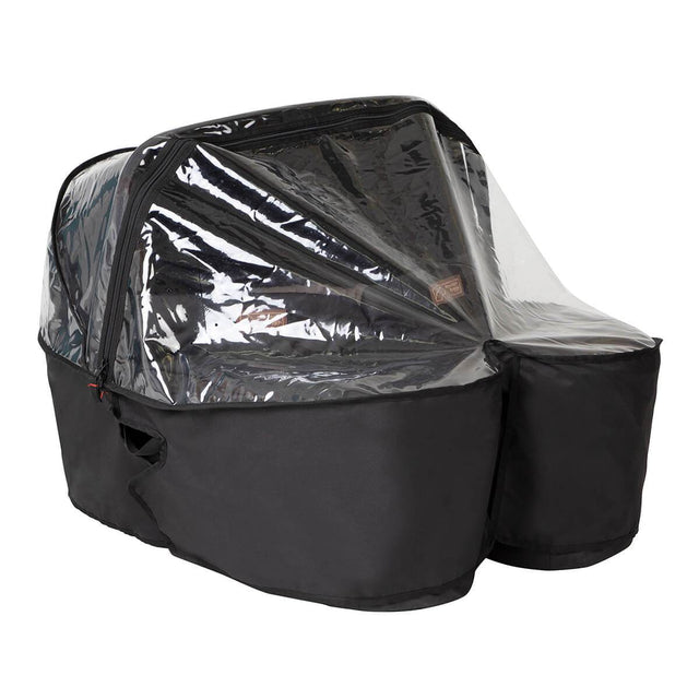 carrycot plus for twins shown with the free included storm cover in place to show protection from the elements_black