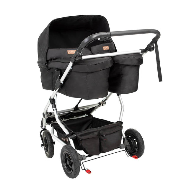 carrycot plus for twins shown installed on a Mountain Buggy duet double stroller_black
