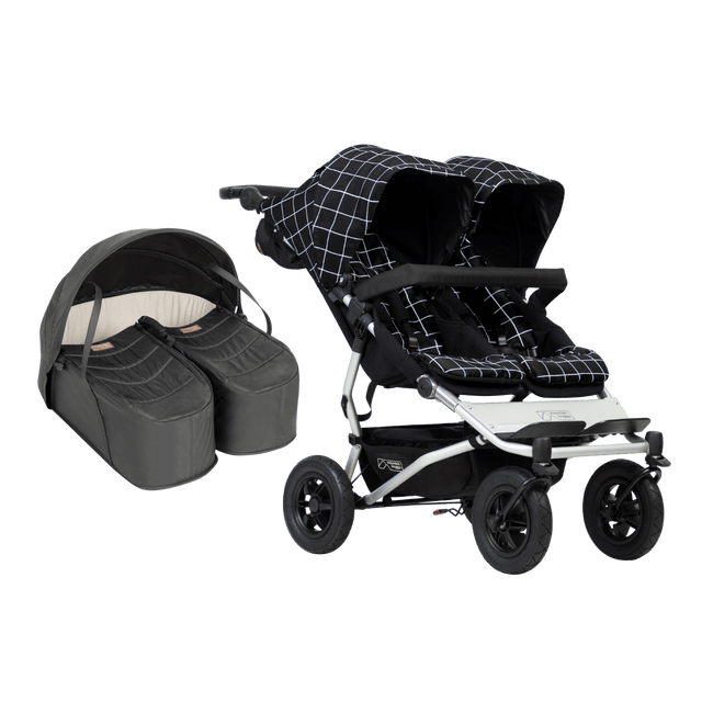 Mountain Buggy duet stroller bundle package with buggy and cocoon for twin newborns_black