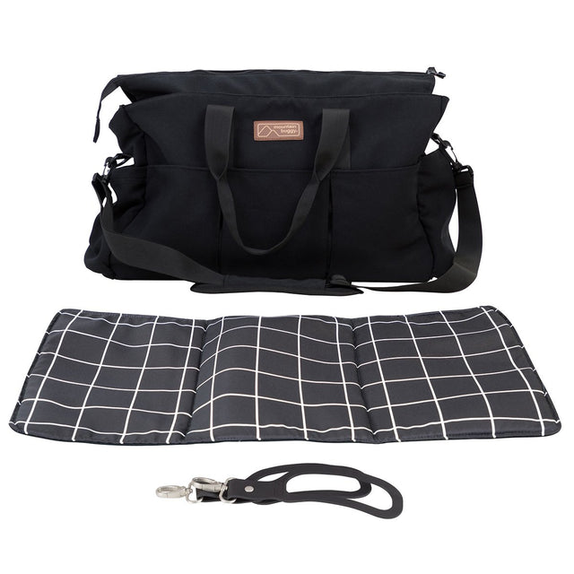Mountain Buggy double satchel bag with blanket and clips in colour grid_grid