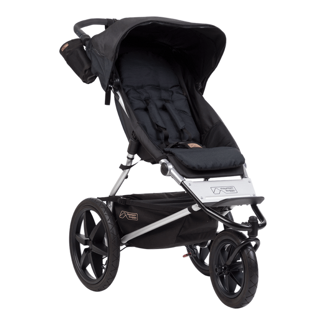 mountain buggy terrain active all terrain jogging stroller 3/4 view shown in color onyx_onyx
