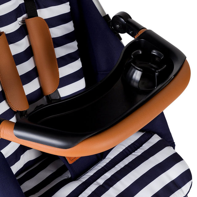 Mountain Buggy food tray close up on urban jungle luxury stroller in colour nautical_black