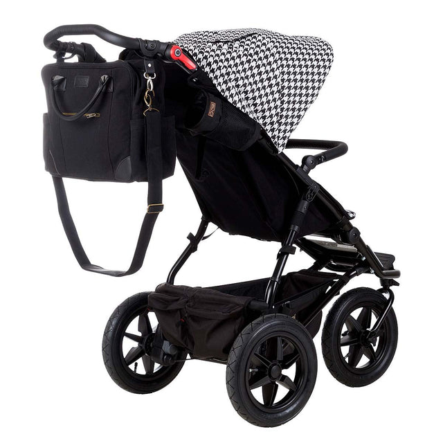 Mountain Buggy luxury collection satchel bag attached to urban jungle luxury stroller in colour pepita_pepita