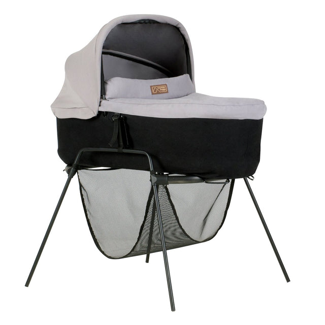 mountain buggy carrycot stand with carrycot plus  for urban jungle terrain and plusone 3/4 view shown in color silver_black