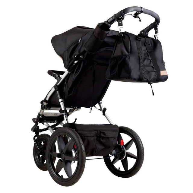 Mountain Buggy parenting bag attached to the terrain buggy in matching colour black oynx_onyx