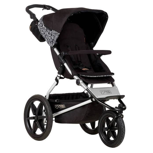 Mountain Buggy terrain stroller in black and white graphite colour has a reversible black seat liner_graphite