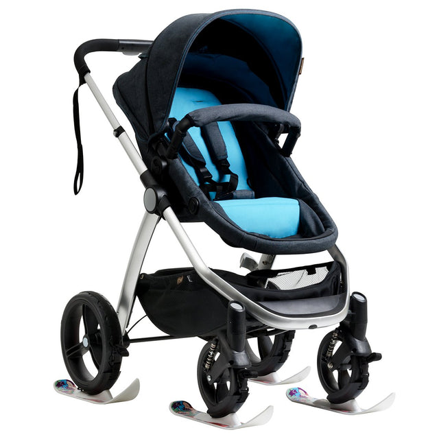 Mountain Buggy winter ski fitted on all 4 wheels of the cosmopolitan buggy_white