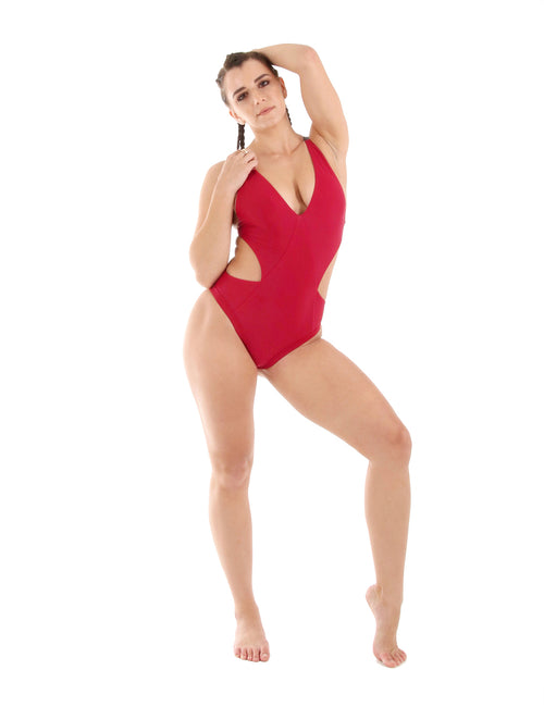 One piece pole fitness performance wear - Warrior Bodysuit - Babylon Red