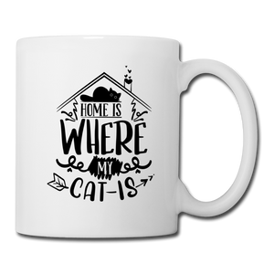 "Tasse ""Home is where my cat is"" - Weiß"