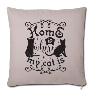 "Sofakissen ""Home is where my cat is"" - helles Taupe"