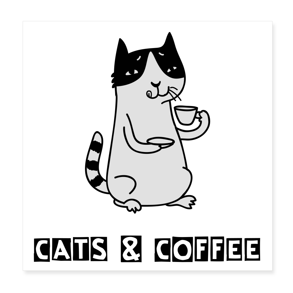 "Poster ""Cats & Coffee"" (20x20 cm) - Weiß"