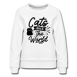 "Frauen Pullover ""Cats rule the world"" - white"