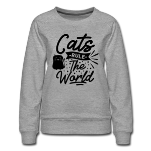 "Frauen Pullover ""Cats rule the world"" - heather grey"