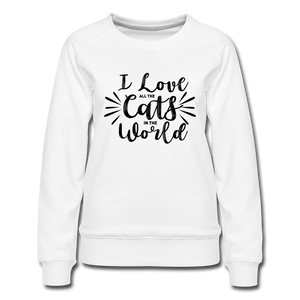"Frauen Pullover ""I love all the cats in the world"" - white"
