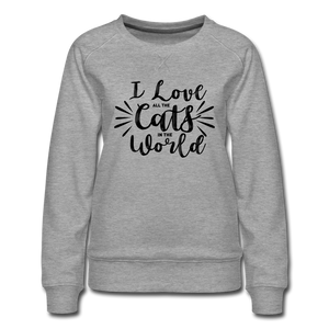 "Frauen Pullover ""I love all the cats in the world"" - heather grey"