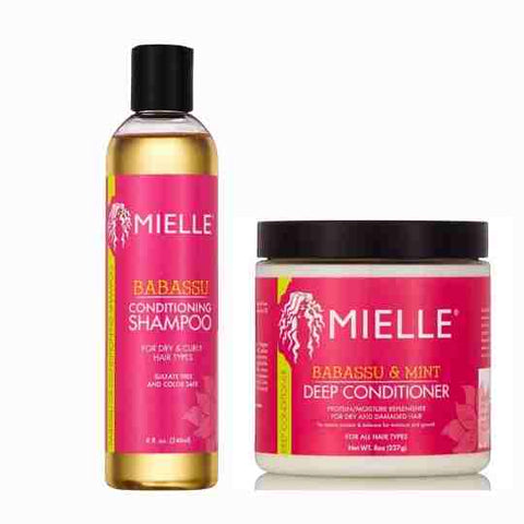 Mielle Babassu Conditioning Sulfate-Free Shampoo & Mielle Babassu Oil & Mint Deep Conditioner - blackhairboutique.co.uk