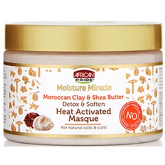 African Pride Moisture Miracle Moroccan Clay & Shea Butter Heat Activated Masque - blackhairboutique.co.uk