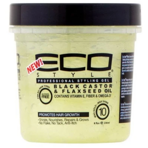 Eco Style Black Castor and Flaxseed Oil Styling Gel - blackhairboutique.co.uk
