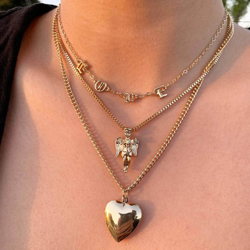 Love Angel Heart Layered Necklace