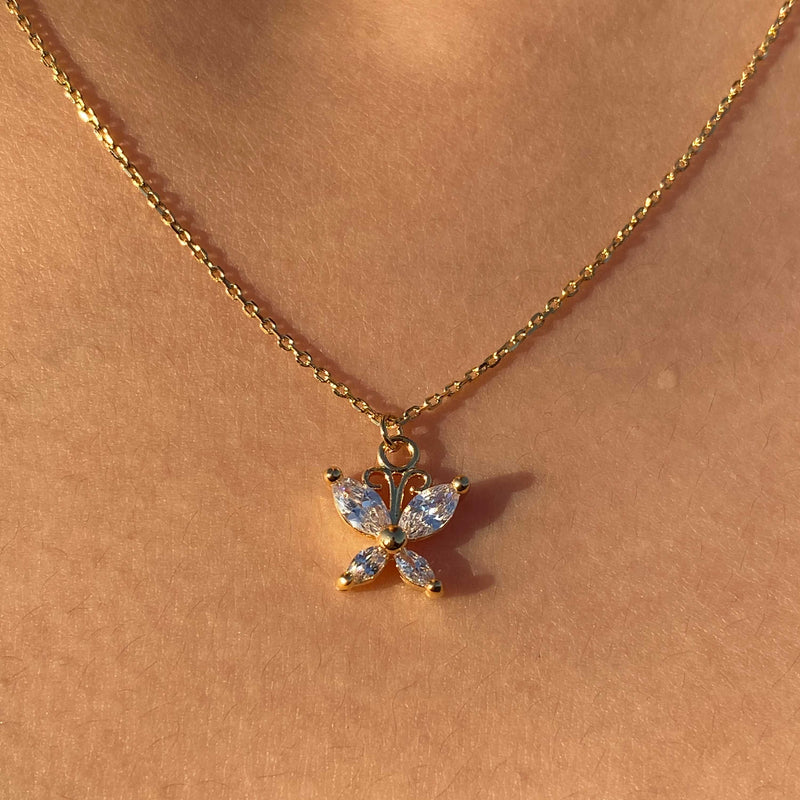 Tiny Crystal Butterfly Necklace