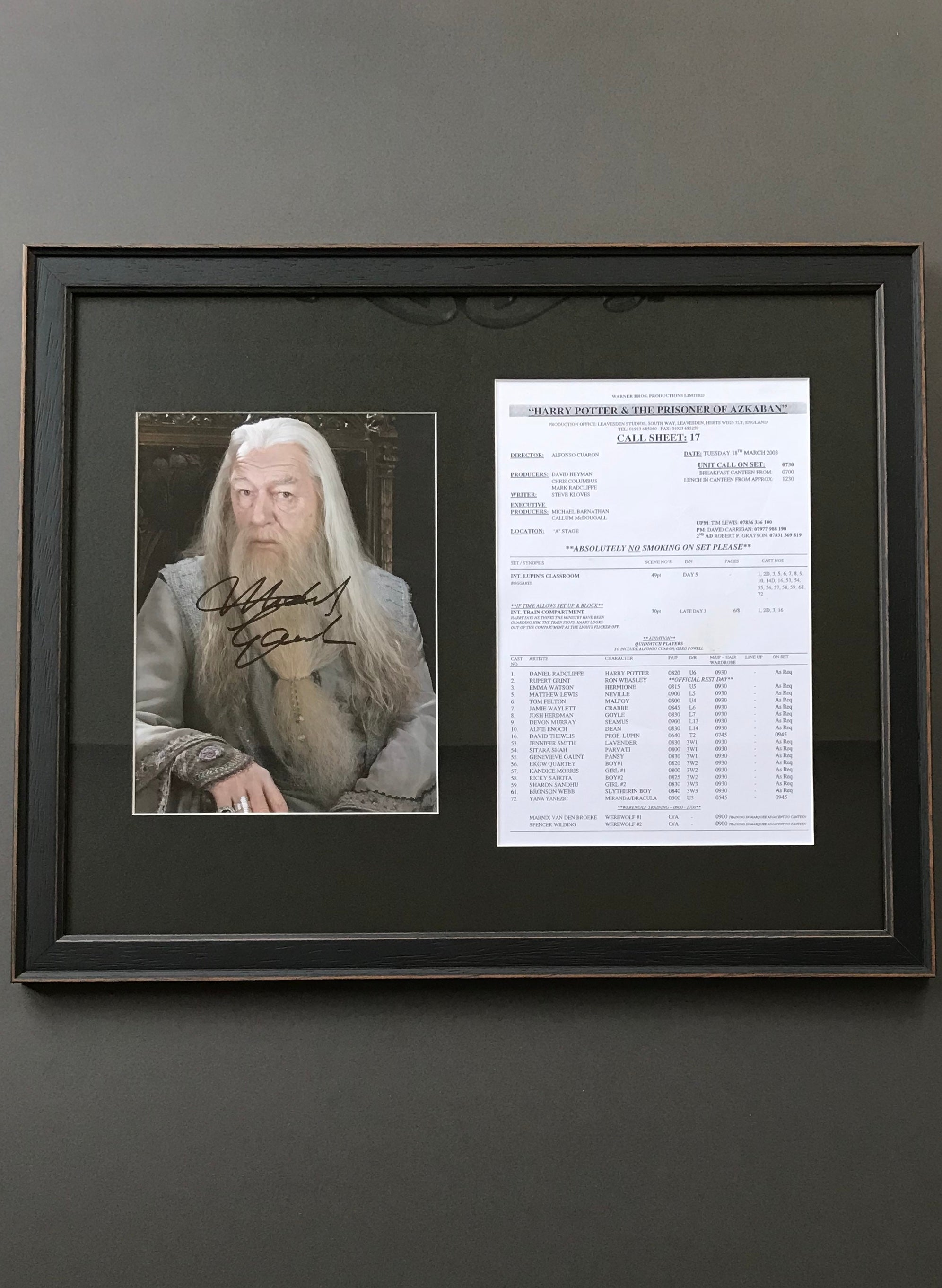 Harry Potter & The Prisoner of Azkaban (2004) - A Call Sheet & Corresponding Sir Michael Gambon Autograph - SOLD