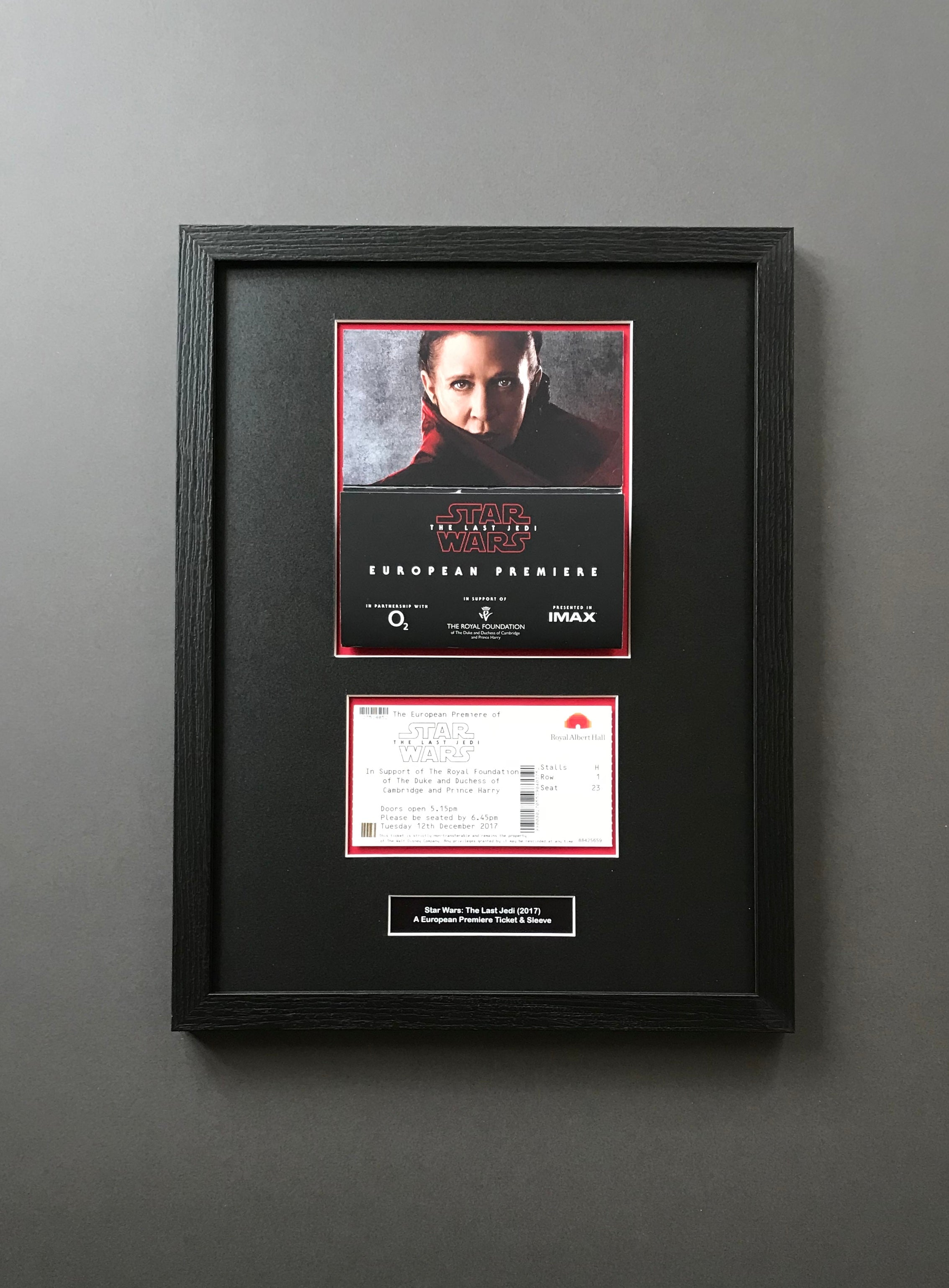 Star Wars: The Last Jedi (2017) - Framed Premiere Ticket & Sleeve - SOLD