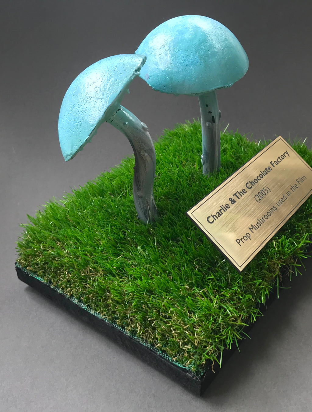 Charlie & The Chocolate Factory (2005) - Two Prop Mushrooms on a Custom Display (SOLD)
