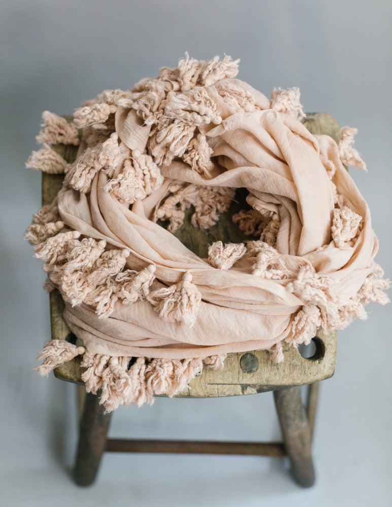 Plant Dyed Cotton Scarf in Blush