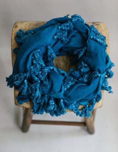 Plant Dyed Cotton Scarf in Indigo