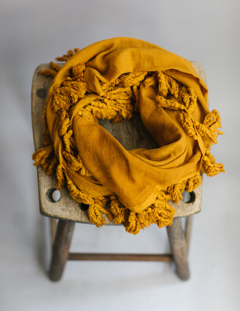 Plant Dyed Cotton Scarf in Mustard