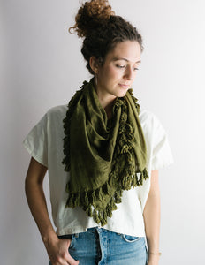 Plant Dyed Cotton Scarf in Olive