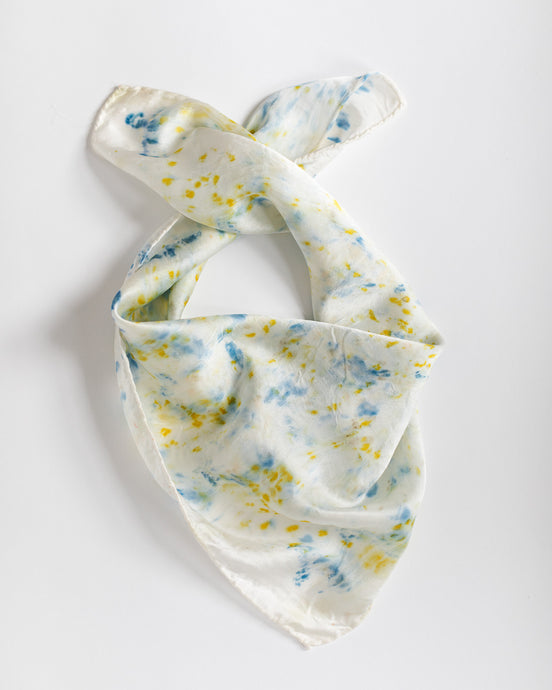 Botanically dyed silk scarf