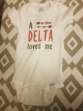 Load image into Gallery viewer, A Delta Loves Me Baby Body Suit Delta Sigma Theta Baby Body Suit