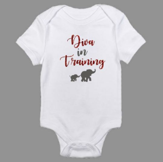 Diva In Training Glitter Baby Body Suit
