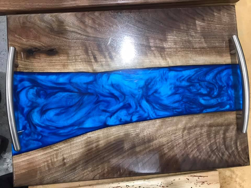 Blue Live Edge Walnut Serving Tray - Robert H Woodworks
