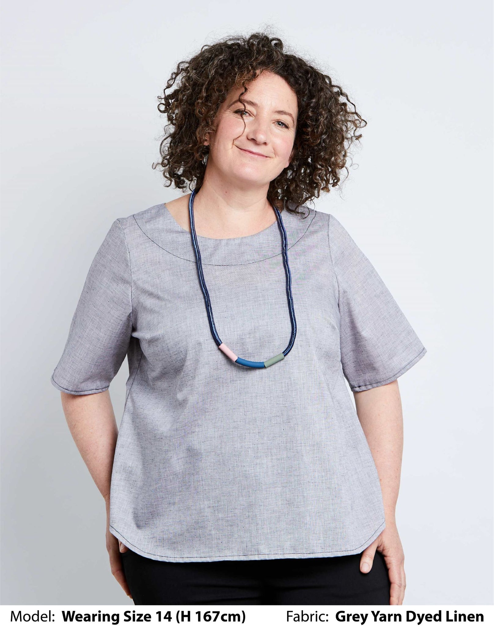 Shop Plus Size Tops | Plus Size Linen Classic Blouses - Grey Yarn Dyed Linen