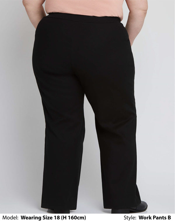 Shop Women's Plus Size Clothing Online | Back view of wearing a womens plus size work pants for curvy bums in plain black soft-stretch fabric