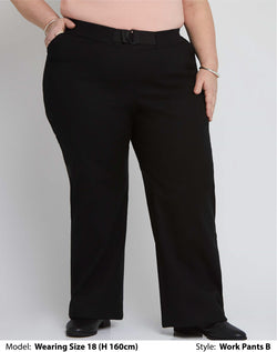 Shop Women's Plus Size Clothing Online | Front view of wearing a womens plus size work pants for curvy Bums in plain black soft-stretch fabric