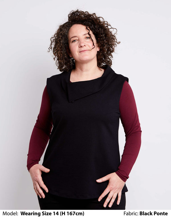 Shop Plus Size Tops | Plus Size Vest with Collar | Black Low Pill Ponte