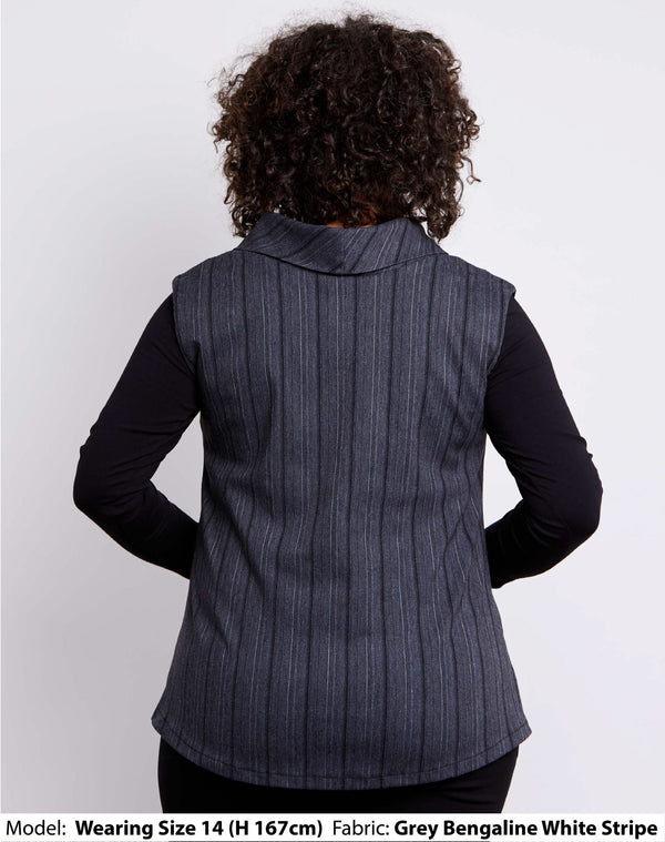 Back view of size 14 model dressed for work in a womens plus size vest with collar in light grey stretch bengaline with white pinstripes.