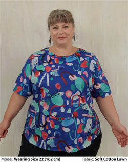 Plus Size Tops | Plus Size Classic Blouses - Blue Geo on Cotton Lawn