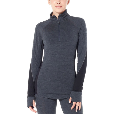 Women's BodyfitZone™ Merino 260 Zone Long Sleeve Half Zip Thermal Top-Icebreaker-Jet Heather/Black-S-Uncle Dan's, Rock/Creek, and Gearhead Outfitters