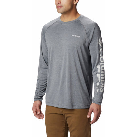 Men's PFG Terminal Tackle Heather Long Sleeve Shirt-1709421_Charcoal Heather, Cool Grey Logo