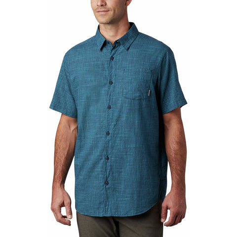 Men's Under Exposure Yarn-Dye Short Sleeve Shirt-1715221_Collegiate Navy Plaid