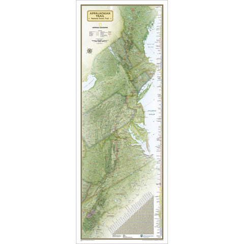 Appalachian Trail Wall Map [Laminated]-National Geographic Maps-Uncle Dan's, Rock/Creek, and Gearhead Outfitters