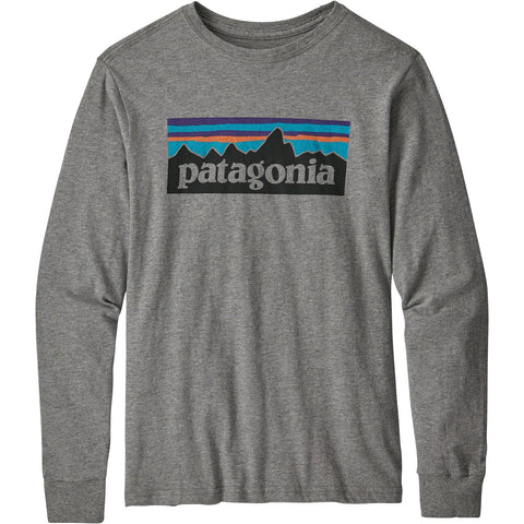 Boys' Long-Sleeved Graphic Organic T-Shirt-Patagonia-P6 Logo Gravel Heather-L-Uncle Dan's, Rock/Creek, and Gearhead Outfitters