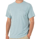 Men's Bamboo Flex Pocket Tee Shirt-Free Fly-Heather Alpine Blue-S-Uncle Dan's, Rock/Creek, and Gearhead Outfitters