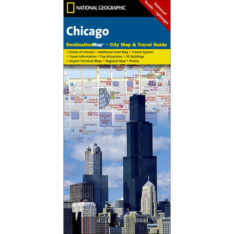 Chicago Map-National Geographic Maps-Uncle Dan's, Rock/Creek, and Gearhead Outfitters
