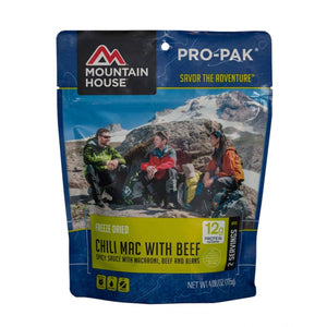 Chilli Mac w/ Beef Pro-Pak-Mountain House-Uncle Dan's, Rock/Creek, and Gearhead Outfitters